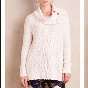 Anthropologie Moth Cowl Neck Chunky Knit Sweater